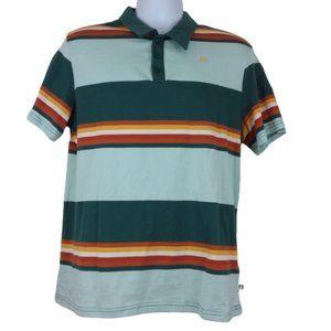 NWT Hang Ten Med Polo Shirt S/S Green/Rust Cotton